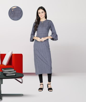 Fabclub | Fabclub Women Heavy Rayon A-Line Striped Kurti (Powder Blue)