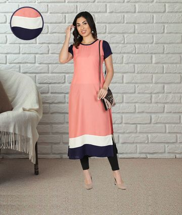 Fabclub | Fabclub Women Rayon Color block Straight Designer Kurti (Peach)