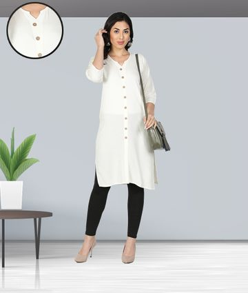 Fabclub | Fabclub Women Rayon Solid Plain Front Slit Straight Kurti (Off White)