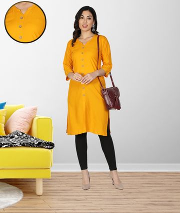 Fabclub | Fabclub Women Rayon Solid Plain Front Slit Straight Kurti (Mustard Yellow)