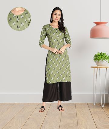 Fabclub | Fabclub Women Rayon Printed Stright Kurti (Green)