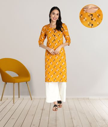 Fabclub | Fabclub Women Rayon Printed Stright Kurti (Mustard Yellow)