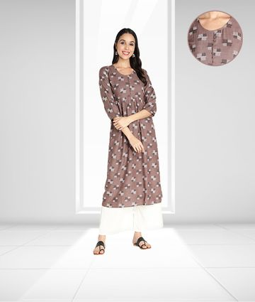 Fabclub | Fabclub Women Rayon Printed Flared Kurti (Dusty Brown)