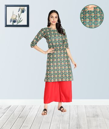 Fabclub | Fabclub Pure Cotton Bandhani Printed Straight Women Kurti (Green)
