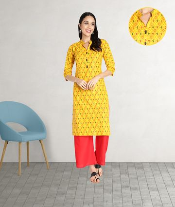 Fabclub | Fabclub Pure Cotton Printed Straight Women Kurti (Mustard Yellow)