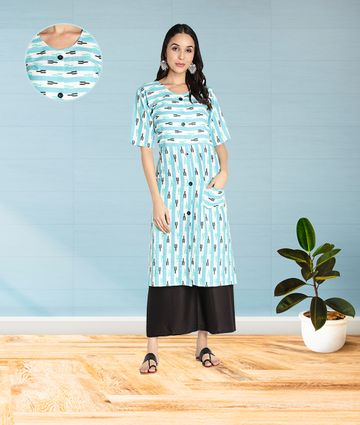 Fabclub | Fabclub Women Slub Cotton Striped Front Slit Pocket Kurti (Sky Blue)