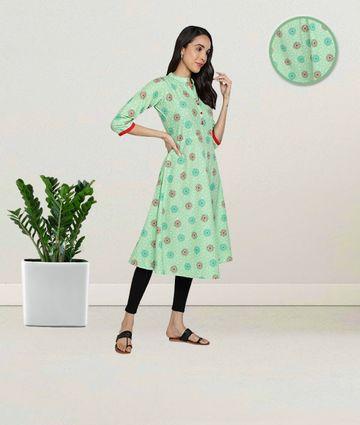 Fabclub | Fabclub Pure Cotton Printed Flared Women Kurti (Sea Green)