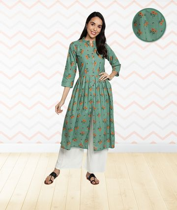 Fabclub | Fabclub Cotton Floral Printed Flared & Front Slit Women Kurti (Sea Green)