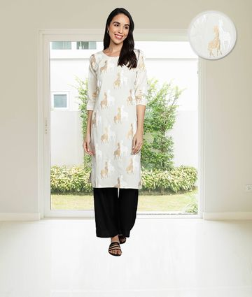 Fabclub | Fabclub Cotton Linen Gold Foil Animal Printed Straight Women Kurti (White)