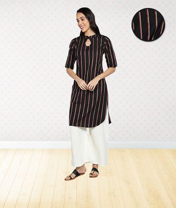 Fabclub | Fabclub Women Cotton Striped Straight Kurta (Black)