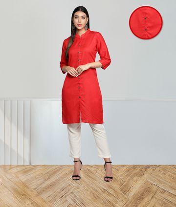 Fabclub | Fabclub Cotton Flex Solid Plain Front Slit Straight Women Kurta (Red)