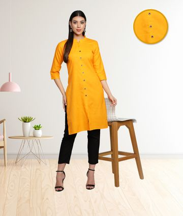 Fabclub | Fabclub Cotton Flex Solid Plain Front Slit Straight Women Kurta (Mustard Yellow)