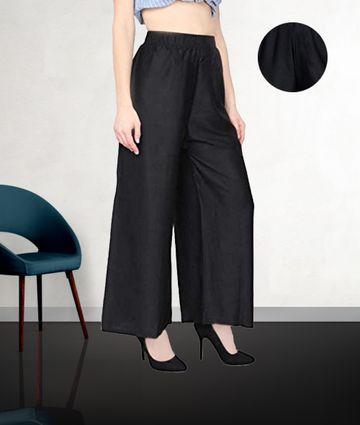 Fabclub   Fabclub Women Heavy Rayon Solid Plain Free Size Palazzo (Black)