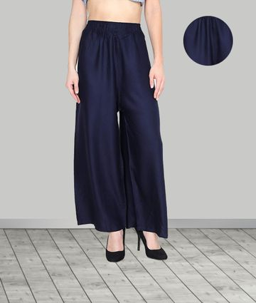 Fabclub | Fabclub Women Heavy Rayon Solid Plain Free Size Palazzo (Navy Blue)