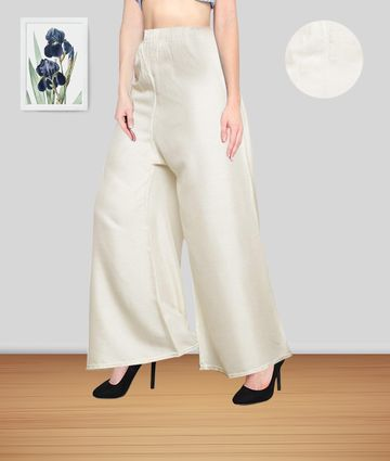 Fabclub | Fabclub Women Heavy Rayon Solid Plain Free Size Palazzo (Off White)