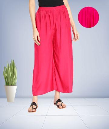Fabclub | Fabclub Women Heavy Rayon Solid Plain Free Size Palazzo (Pink)
