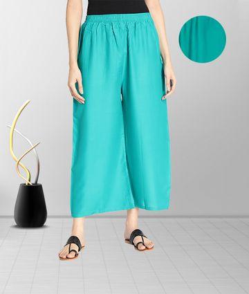 Fabclub | Fabclub Women Heavy Rayon Solid Plain Free Size Palazzo (Turquoise)