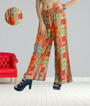 Fabclub | Fabclub Women Heavy Rayon Checkered Printed Designer Free Size Palazzo (Multicolor)