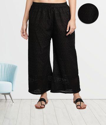 Fabclub | Fabclub Cotton Chikan Free Size Women Palazzo (Black)