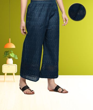 Fabclub | Fabclub Cotton Chikan Free Size Women Palazzo (Teal Blue)