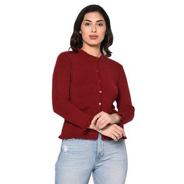 Fabnest | Fabnest women winter acrylic maroon cardigan with pockets and frill detail