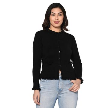 Fabnest | Fabnest women winter acrylic black cardigan with pockets and frill detail