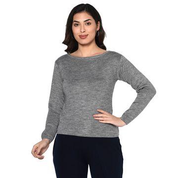 Fabnest | Fabnest women winter boat neck basic grey acrylic pullover