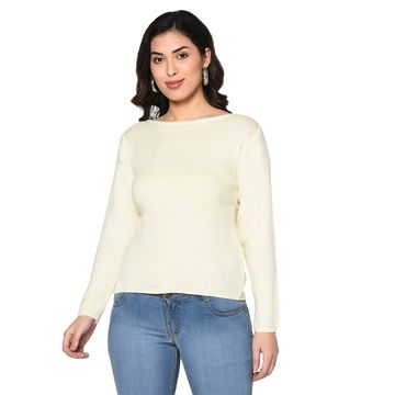 Fabnest | Fabnest women winter acrylic boat neck off white pullover