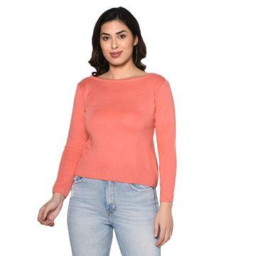 Fabnest | Fabnest women winter acrylic boat neck peach pullover