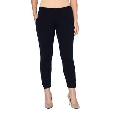 Fabnest | Fabnest womens winter navy acrylic warm bottomwear with slit