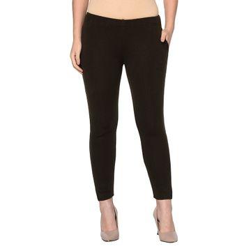 Fabnest | Fabnest womens winter brown acrylic warm bottomwear with slit
