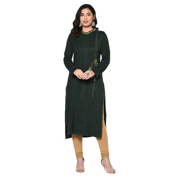 Fabnest | Fabnest women winter acrylic dark green embroidered kurta with bead work