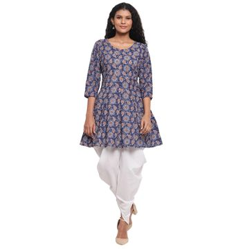 Fabnest | Fabnest Womens Indigo Cotton Printed Peplum Short Kurta With White Cotton Dhoti Salwar