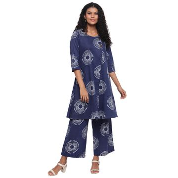 Fabnest | Fabnest Womens Indigo Cotton Printed Aline Kurta With Straight Cotton Printed Straight Pants