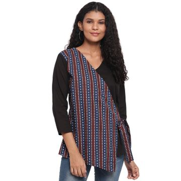 Fabnest | Fabnest Womens Cotton Black Top With Front Indigo Printed Panel And Side Tie Up