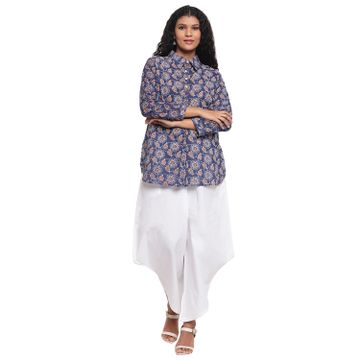 Fabnest | Fabnest Womens Cotton Indigo Printed Collared Tunic With Assymetrical White Cotton Pant