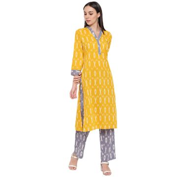 Fabnest | Fabnest womens cotton yellow and grey ikkat set of a ikkat Kurt's with accents and pants