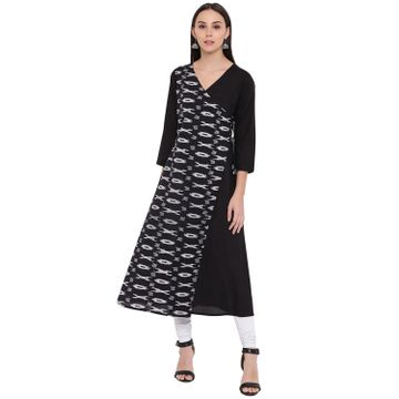 Fabnest | Fabnest womens cotton black solid and ikkat angarkha kurta