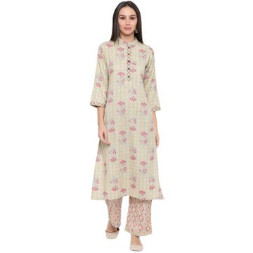 Fabnest | Fabnest women rayon light green printed kurta and pant set with thread detailing on placket and cuff.
