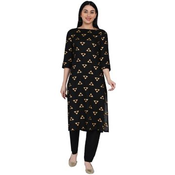 Fabnest | Fabnest Womens Black Rayon Straight Kurta With Gold Foil Print