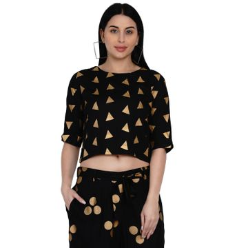 Fabnest | Fabnest Womens Black Rayon Crop Top With Gold Foil Print