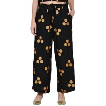Fabnest | Fabnest Womens Black Rayon Loose Fit Pant Palazzo With Gold Foil With Belt