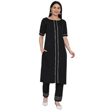 Fabnest | Fabnest Womens Black Crepe Straight Kurta And Pant Set With Gota Inserts