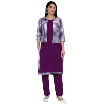 Fabnest | Fabnest Womens Purple Cotton Straight Kurta And Pant Set With Purple And White Jacket