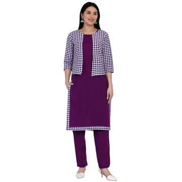 Fabnest | Fabnest Womens Purple Cotton Straight Kurta And Pant Set With Purple And White Jacket