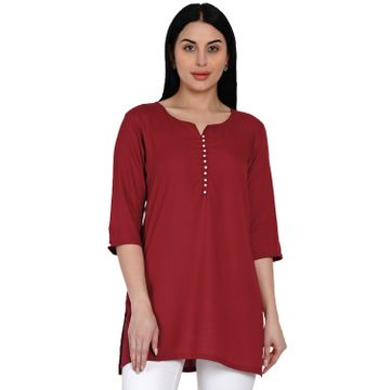 Fabnest | Fabnest Womens Rayon Maroon Pearl Button Tunic