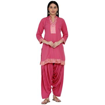 Fabnest | Fabnest Womens Pink Crepe Salwar Set With Brocade Inserts