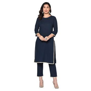 Fabnest | Fabnest womens indigo navy cotton kurta with gota work