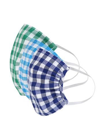 Fabnest | Fabnest Womens Light Blue/White Green/White Blue/White Check Face Masks Pack Of 3