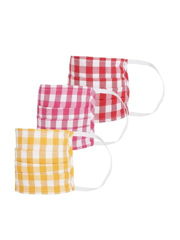 Fabnest | Fabnest Womens Yellow And Red And Pink check Face Masks Pack Of 3